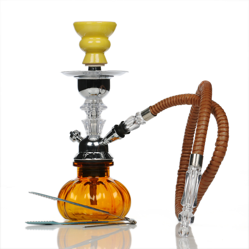 Glass Pumpkin Hookah - Amber