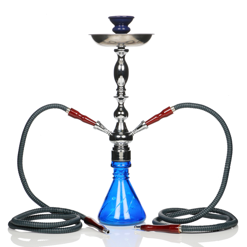 Tall Double Hose Beaker Hookah - Blue
